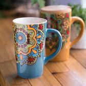 聖誕節交換禮物-杯子陶瓷馬克杯大容量帶蓋勺復古風喝水杯子大咖啡杯手繪杯子交換禮物