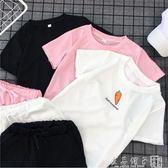 短褲套裝女夏2019新款寬鬆學生韓版休閒學院風BF跑步運動服兩件套      良品鋪子