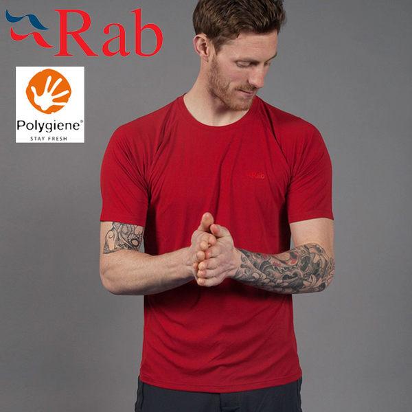 Rab 英國 QBU43-CY法拉利紅 男抗菌排汗短T恤Aerial Tee