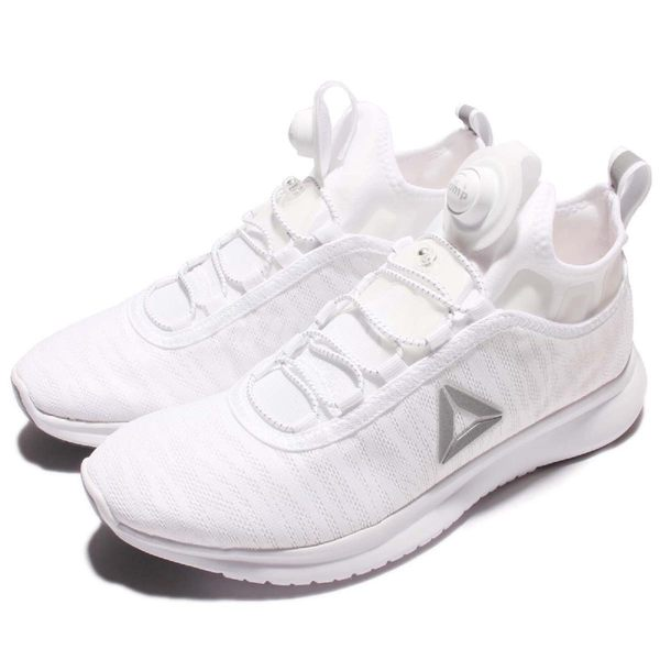 Reebok 慢跑鞋 Pump Plus Flame 白 銀 小白鞋 充氣襪套跑鞋 休閒鞋 運動鞋 女鞋【PUMP306】 BD4940