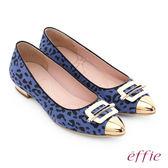 effie 軟芯系列 絨面真皮豹紋尖楦平底鞋 藍