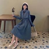 長袖洋裝 長袖連身裙2021新款春秋季冬法式小眾收腰顯瘦裙子氣質襯衫裙女裝 韓國時尚週