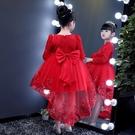 女童長袖公主裙秋冬小女孩拖尾蓬蓬紗裙子演出服兒童超洋氣連衣裙【免運】