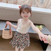 女童短裙 碎花短裙子半身夏薄款半裙夏季小孩兒童2021年新款女潮兩件套【快速出貨】