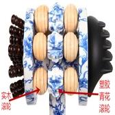 青花手動背部腳底木質按摩捶滾輪按摩器木制敲打錘經絡保健養生拍