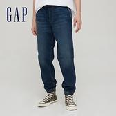 Gap男裝 時尚水洗中腰鬆緊牛仔褲 754263-水洗藍