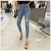 ✦Styleon✦正韓。個性磨損高腰刷白彈力牛仔九分褲。韓國連線。韓國空運。0703。