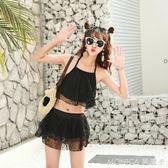 泳衣女兩件套 韓國溫泉小香風 分體裙式平角保守小胸性感溫泉泳裝 莫妮卡小屋