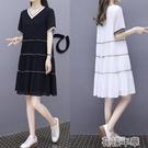 大碼洋裝夏季新款女裝a字娃娃裙中長款V領寬鬆顯瘦大碼休閒雪紡連身裙 快速出貨