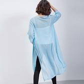 針織外套 長版-時尚文藝寬鬆簡約女亞麻罩衫5色73fb33【巴黎精品】
