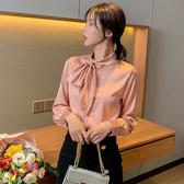 長袖襯衣 547#春款襯衣氣質蝴蝶結系帶上衣緞面襯衫女設計感T639紅粉佳人