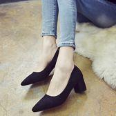百搭工作鞋黑色高跟鞋女職業粗跟絨面單鞋尖頭中跟5cm高跟鞋女鞋