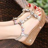 波西米亞坡跟涼鞋高跟防水臺厚底水鉆女鞋
