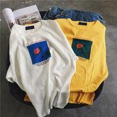 找到自己 MD 韓國 休閒 時尚 男 純棉 圓領套頭 字母玫瑰花印花 短袖T恤 圖案T 特色短T