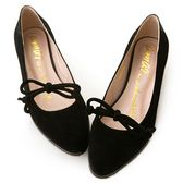 amai甜美絨布蝴蝶結綁帶平底鞋 黑
