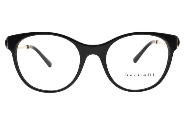BVLGARI 光學眼鏡 BG4160BF 501 (黑-金) 圓框水鑽設計款 平光鏡框 # 金橘眼鏡