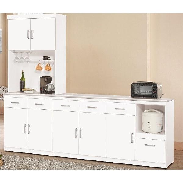 櫥櫃 餐櫃 QW-645-2 祖迪白色8尺石面碗碟櫃(全組)【大眾家居舘】