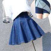 牛仔裙女2018新款春夏季韓版a字半身裙蓬蓬裙短裙傘裙高腰百褶裙『小淇嚴選』