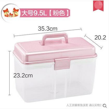 六齊 茶花藥箱家庭薬箱大號小醫要箱急救箱藥品收納盒-(大號粉色)炫彩店
