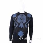 VERSACE 菱格幾何圖騰黑夜藍針織羊毛衫 1810128-01