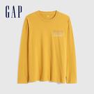 Gap男裝 碳素軟磨系列 Logo純棉長袖T恤 735038-金黃色