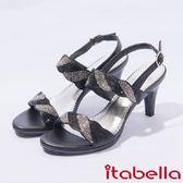 ★2017春夏新品★itabella.雙色亮麗水鑽高跟涼鞋(7322-95黑)