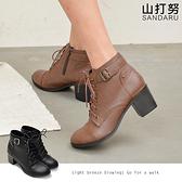 短靴 綁帶側扣粗跟短靴