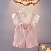 全館83折女童新款夏裝0-1-2-3歲女寶寶背帶短褲兩件套女嬰兒韓版卡通套裝