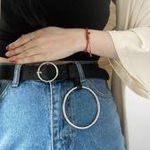 圓扣皮帶女簡約百搭韓國牛仔褲腰帶女大圓環裝飾通用學生正韓黑潮