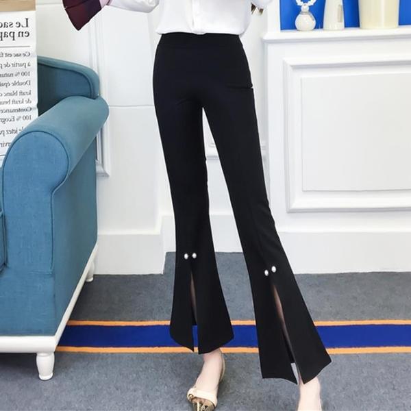 2018夏季新款女韓版氣質高腰修身松緊腰開叉釘珠喇叭褲長褲休閒褲
