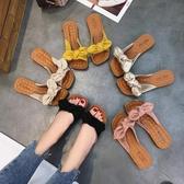 拖鞋 蝴蝶結拖鞋女夏2020新款學生時尚外穿百搭沙灘鞋平底網紅一字涼拖 中秋降價