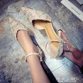 貓跟鞋  春季韓版性感高跟鞋女細跟絨面百搭性感尖頭單鞋女貓跟鞋 傾城小鋪