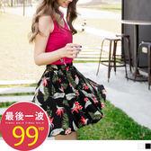 《BA4068-》飄逸清新花朵印涼感褲裙 OB嚴選