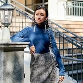 長袖T恤-高領純色休閒舒適超彈女上衣73qu8【巴黎精品】