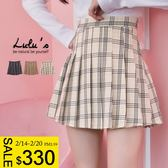 LULUS特價-Q細格紋百褶短裙S-XL-3色  現【05011328】