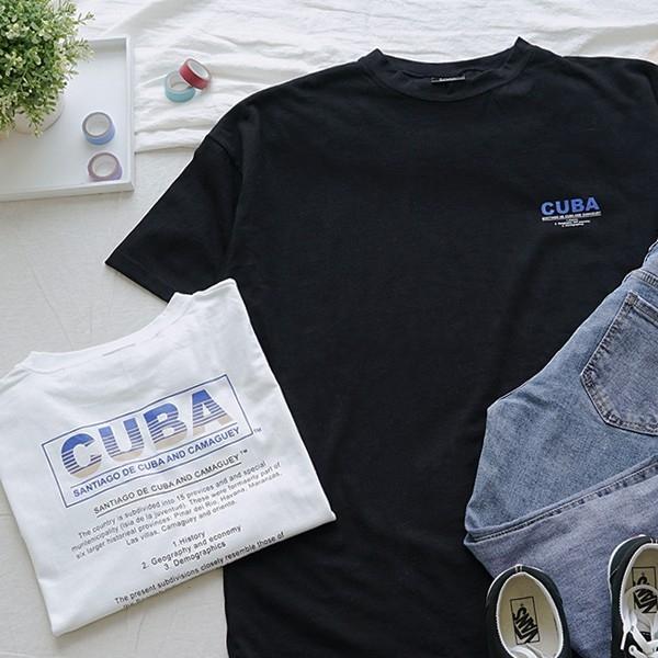 洋芋妹-正韓寬版CUBA背印膠印文字短袖上衣 2色【SA544414】