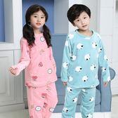 兒童法蘭絨睡衣套裝加絨加厚男童秋冬季套頭保暖衣女童圓領珊瑚絨 美芭