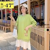 長版上衣--前後英文愛心圖樣刺繡拼接百摺下擺長袖圓領連身裙(黑.綠L-3L)-X400眼圈熊中大尺碼◎