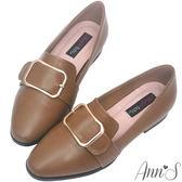 Ann'S韓式文青-金屬圓弧方扣紳士平底鞋-咖