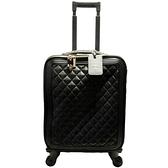 CHANEL 香奈兒 黑色菱格紋荔枝牛皮拉式行李箱 Trolley Rolling Suitcase 【二手名牌BRAND OFF】