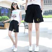 運動短褲運動五分褲女夏季薄款5分中褲韓版寬鬆黑色馬褲 曼莎時尚