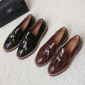 流蘇小皮鞋 粗跟圓頭低幫工作鞋舒適輕便鞋【多多鞋包店】z6960