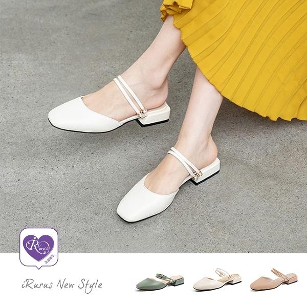 經典百搭素面方頭一字扣粗低跟鞋/3色/35-40碼 (CX0014-A8069-9) iRurus路絲時尚