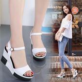 2018夏季新款坡跟厚底增高涼鞋女時尚韓版百搭軟底防滑真皮女鞋 美芭