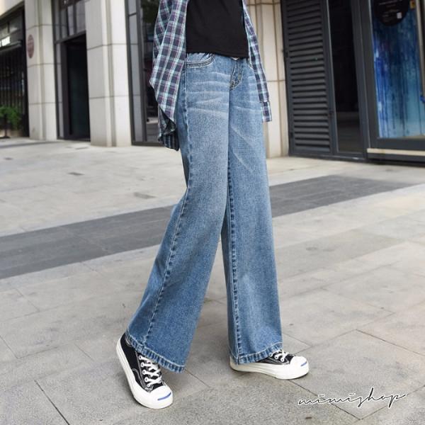 孕婦裝 MIMI別走【P61846】時髦修長腿 水洗刷色不掉檔牛仔褲 孕婦褲 寬褲