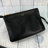 BRAND楓月 CELINE 黑色 TRIO 平滑小羊皮 經典小款三層包 肩背包 斜背包