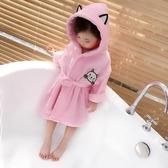 女童秋裝新款兒童羽毛睡衣家居服冷氣扇連帽繫腰帶卡通浴袍 快速出貨