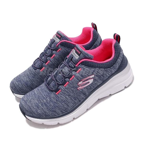 Skechers 慢跑鞋 Fashion Fit-Up A Level 藍 粉紅 微增高設計 女鞋 運動鞋 健走鞋【PUMP306】 12716NVHP