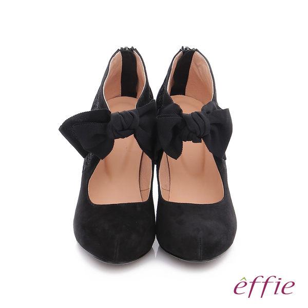 effie 耀眼女伶 絨面羊皮拼接蝴蝶蕾絲高跟鞋  黑