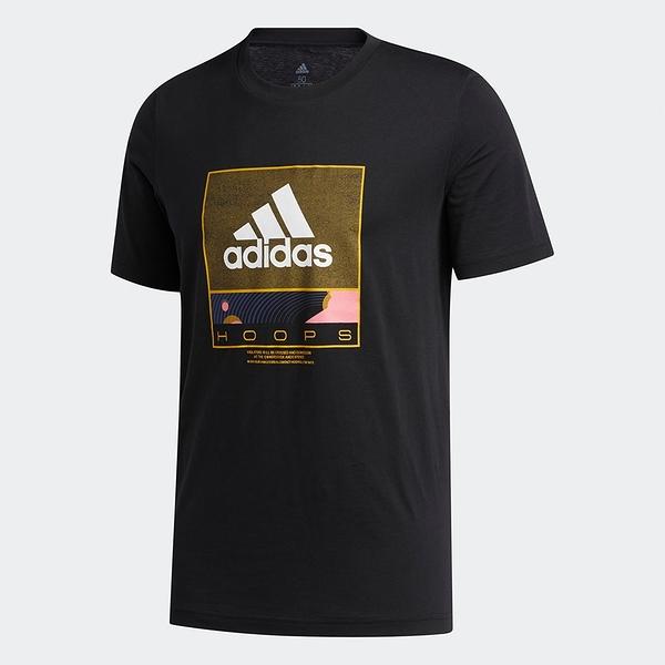 【現貨】ADIDAS FUTURE HOOPS 男裝 短袖 T恤 休閒 純棉 籃球 圓領 黑【運動世界】GE4513